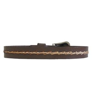 JT Brown Leather Bracelet with Gradient Embroidered