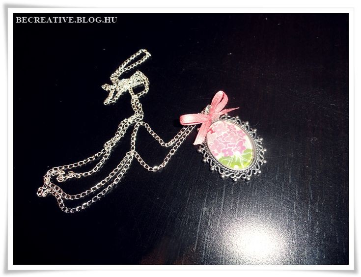 vintage necklace DIY/ nyaklánc egyszerűen, üveglencsés medállal, decoupage technika
