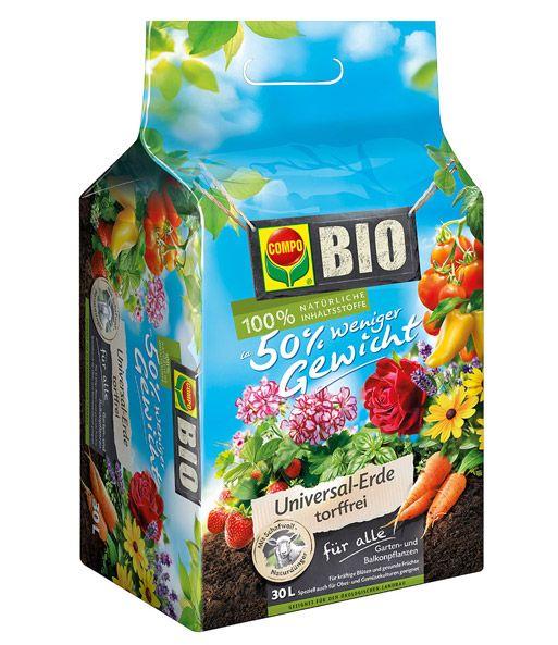 COMPO® BioErde 50 Prozent weniger Gewicht Pflanzen