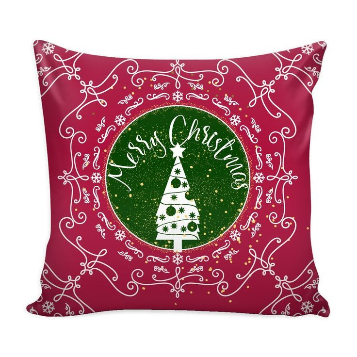 Flat 50% Off + Free Shipping! Merry Christmas Ornamental Red Throw Pillow Case with White Back