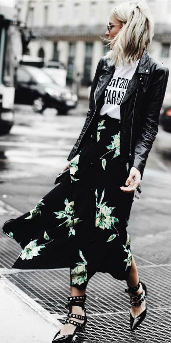 Mary Seng + classic black leather jacket + graphic slogan tee + patterned maxi skirt + edgy style + strappy studded sandals Jacket: Veda, Skirt: Proenza Schouler, Shoes: Mr Self Portrait.