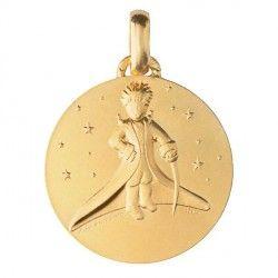 Médaille de baptême en Or Le Petit Prince dans les étoiles - 18mm
