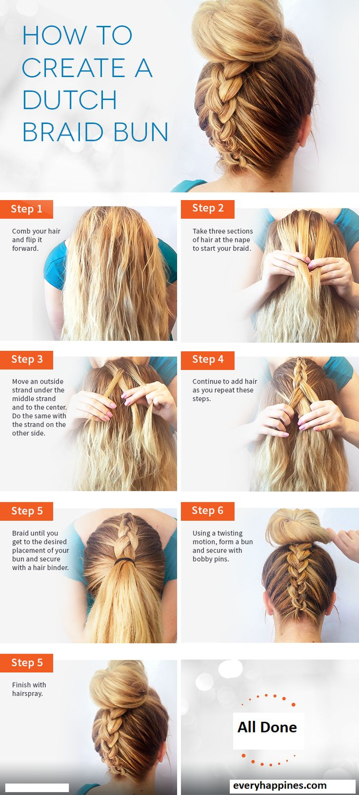 How to Create Dutch Braid Bun. Tutorial