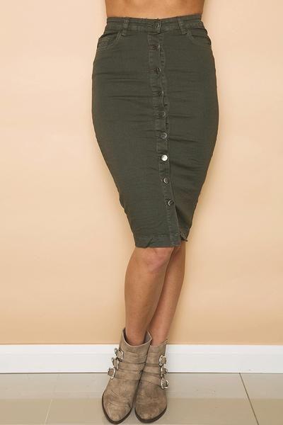 Revolver Denim Skirt in Khaki // GELATO LANE