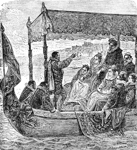 SIR FRANCIS DRAKE: QUEEN ELIZABETH BEING CONVEYED TO THE GOLDEN HIND...