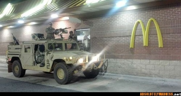 Haha, I would have loved to see the guy's face at the drive thru window when they pulled up...