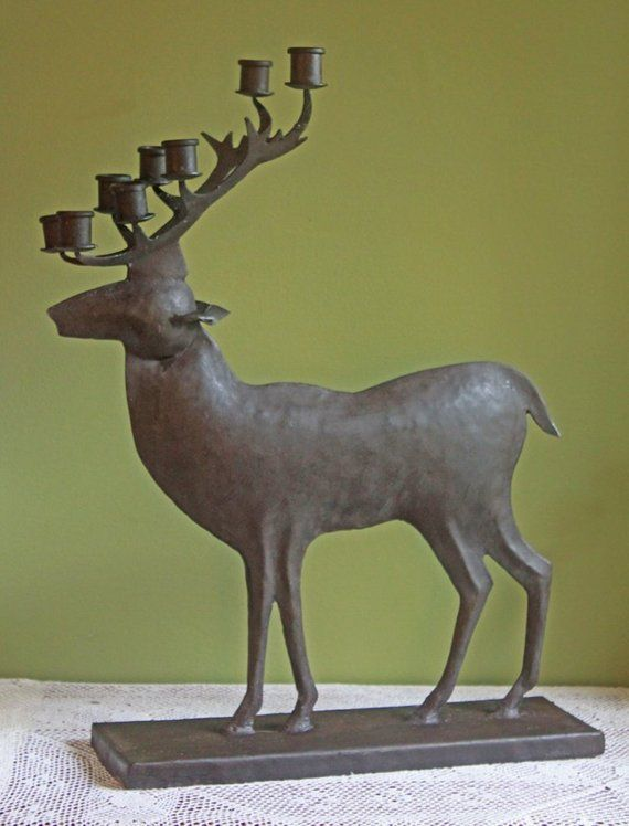 Metal Deer Sculpture With Candle Holders On Antlers Cabin Or Etsy Candle Holders Rustic Sculptures Vase Candle Holder