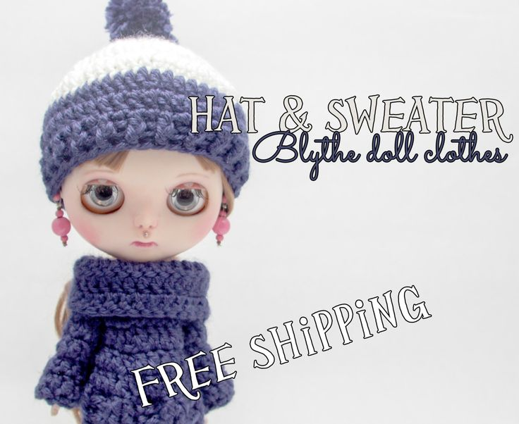 Blythe doll clothes, pullover & hat, snow white and navy blue, blythe clothes, handmade crochet clothes, blythe doll size, crochet clothes by Theordinarydiary on Etsy