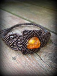 Балтийский янтарь натуральный янтарь янтарь янтарь драгоценный камень браслет * Макраме * племенная * Power Stone * янтарь