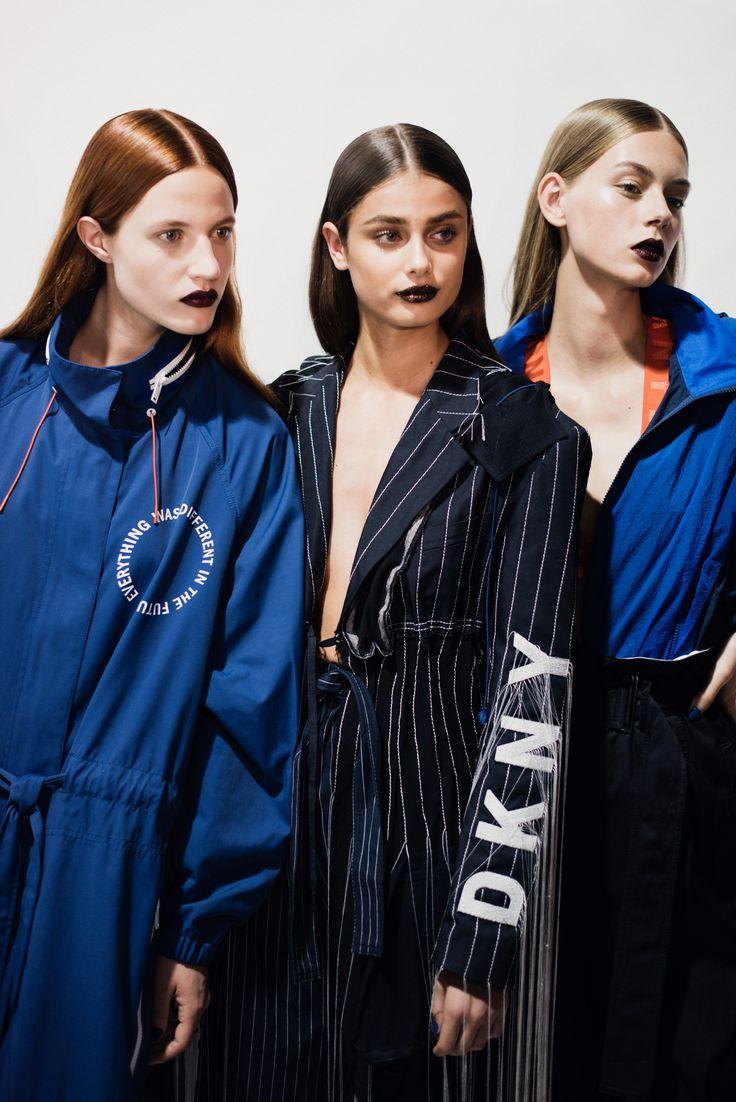 CR Fashion Book - BACKSTAGE AT DKNY SPRING 2017 SS17 - Taylor Hill Pinstripped DKNY blazer
