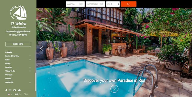 O Veleiro - With a green color scheme that matches its jungle feel, the O Veleiro bed and breakfast uses vibrant, bright photos to highlight the best features. Visible buttons to social media sites make it easy to stay connected.  #vacationrentalwebsites #vacationrentals #webdesign #website