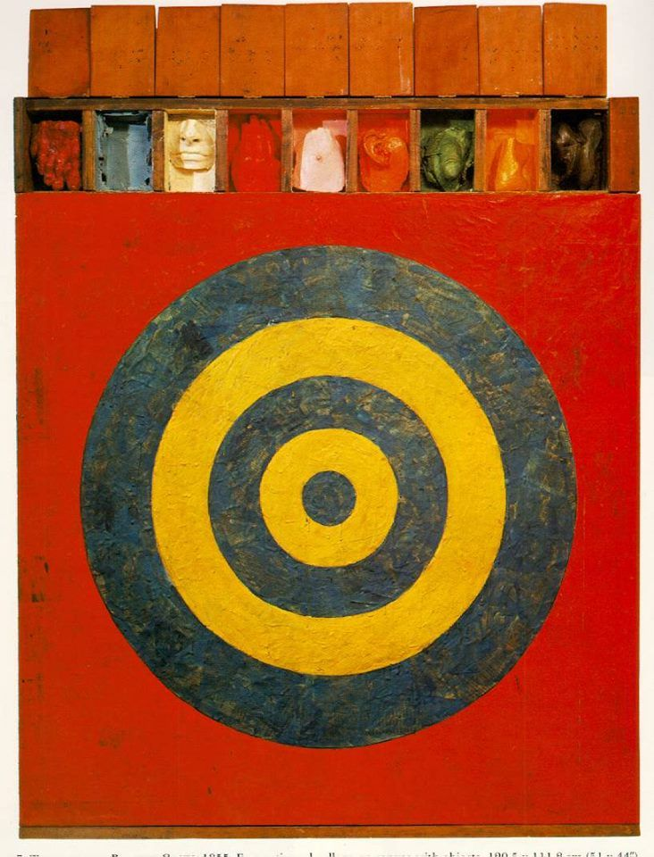 Jasper Johns, Target with Plaster Casts, 1955  Encausto su tela, collage,  129.5 x 111.8 cm (51 x 44 interno) Collezione Mr. and Mrs. Leo Castelli