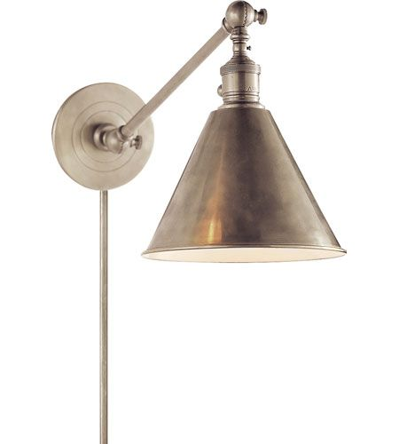 Visual Comfort E.F. Chapman Boston 1 Light Task Wall Light in Antique Nickel SL2922AN #lightingnewyork #lny #lighting