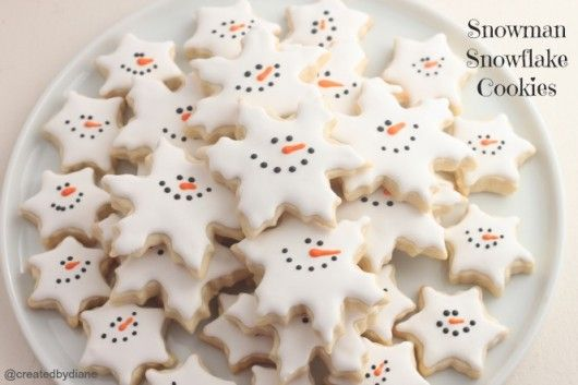 Snowman Snowflake Cookies --I always make these shapes, will have to make faces this holiday.