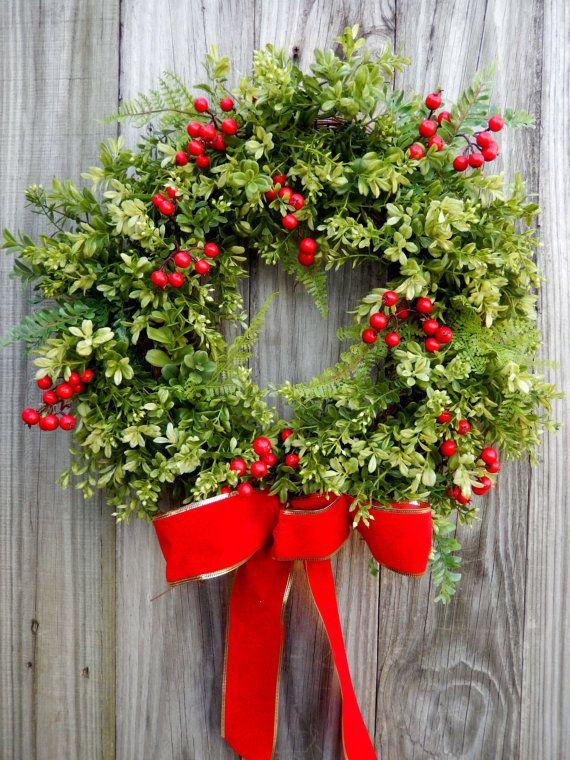 Boxwood and fern Christmas wreath