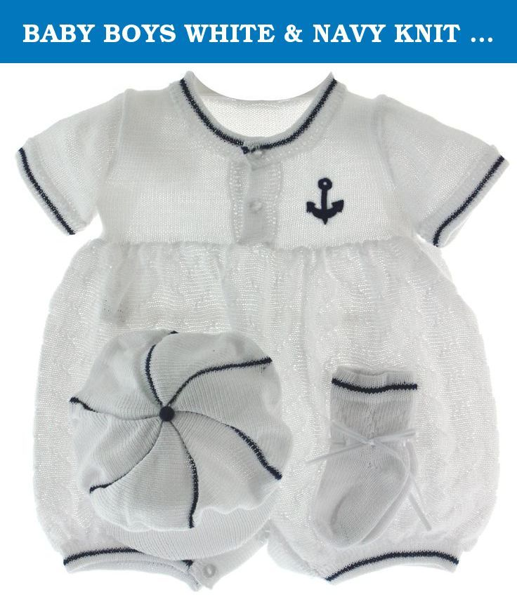 BABY BOYS WHITE & NAVY KNIT SAILOR Outfit & Hat Set WILLBETH (NB). Infant boys white and navy sailor outfit is made of soft knit fabric and comes with matching hat and socks. Cute baby boys sailor outfit has navy anchor and navy blue trim. 75% Cotton 25% Polyester.