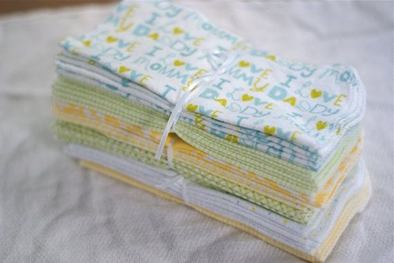 Cloth Baby Wipes  2 Dozen Reusable Eco Friendly by AsYouStitchBaby, $19.00