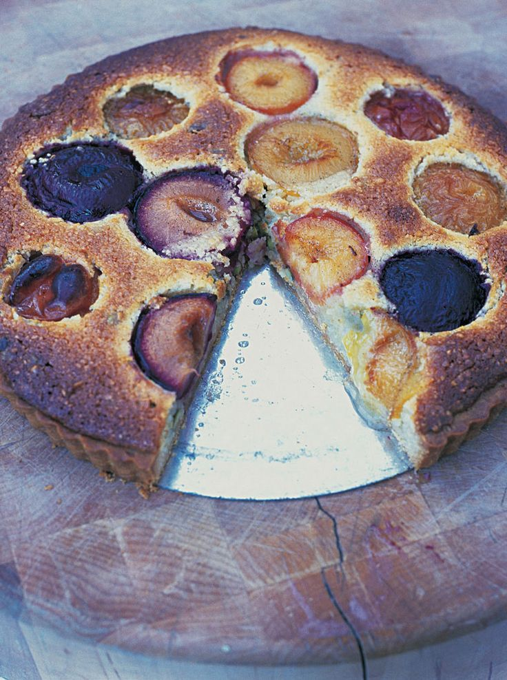 This is a great filling for a tart. It gives you a lovely frangipane mixture, with the delicate taste of almonds, and the lovely texture of baked plums.