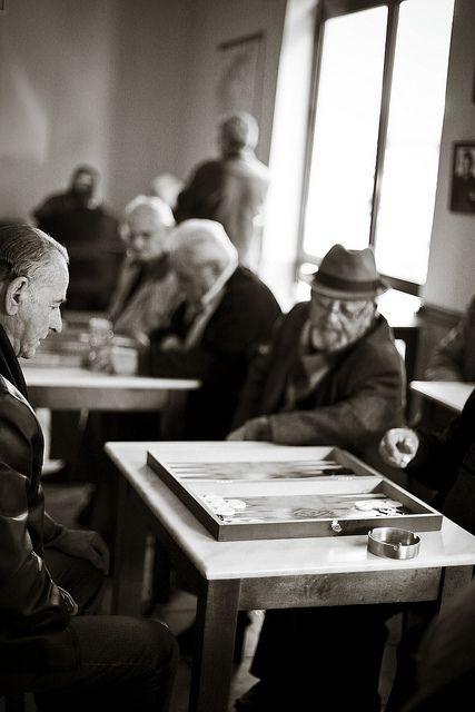 Old Greek men playing Backgammon in Greece. So cute!