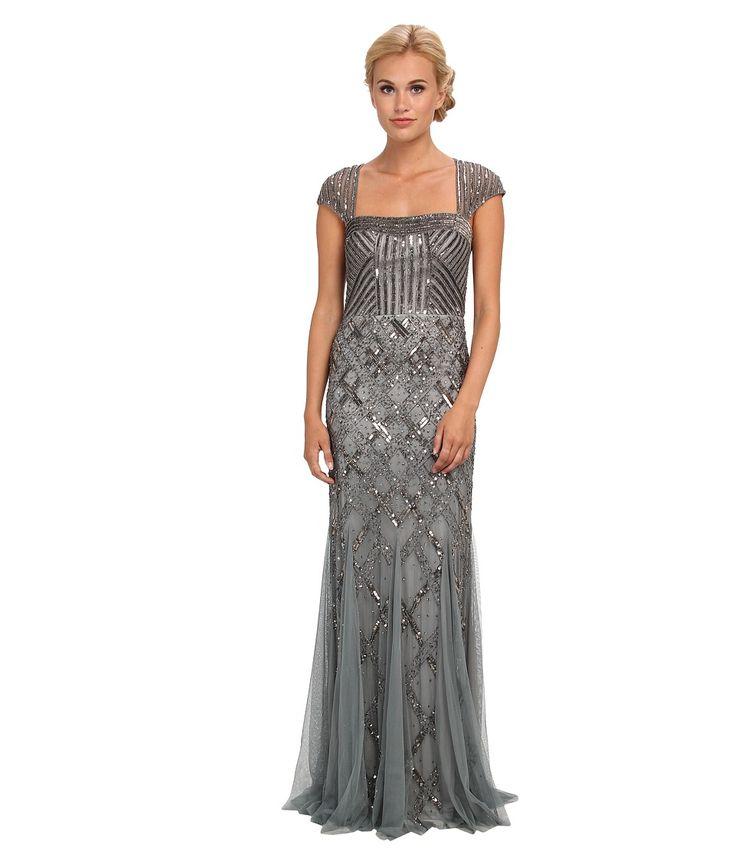 1920s Great Gatsby Prom Dress  Adrianna Papell Cap Sleeve Bead Dress (Slate) Women's Dress
