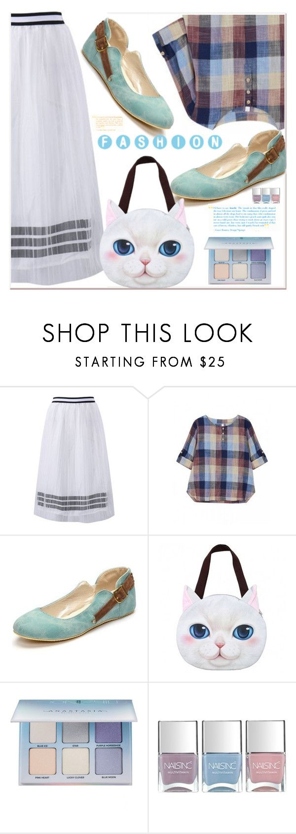 """""""Plaid Button Long Sleeve Round Neck Cotton Linen Blouse"""" by selmir ❤ liked on Polyvore featuring Anastasia Beverly Hills and Nails Inc."""