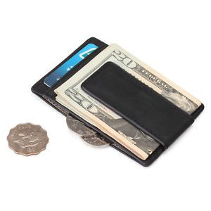 Men's Crazy Horse Leather Money Clip, Wallet with High Quality RFID Blocker