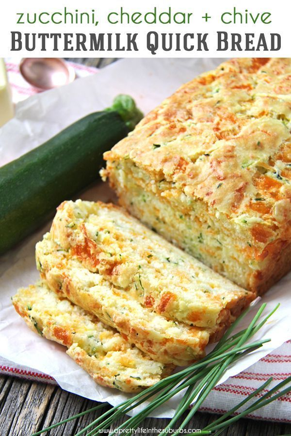 This Zucchini Cheddar Cheese Chive Buttermilk Quick Bread Is A Great Addition To Your Dinner Table In A In 2020 Bread Recipes Homemade Cooking Recipes Quick Bread