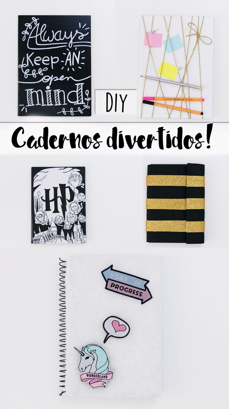 DIY | Como fazer cadernos divertidos! - Pelúcia com Patches, Harry Potter, Lousa | Volta às aulas