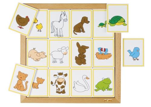 --- Rubriceerlotto Dieren en hun kinderen ---Sorteerlotto's rondom dieren, ieder met een eigen thema:  Dieren en hun kinderen (12 stukjes),  Formaat: 34 x 34 cm (l x b)