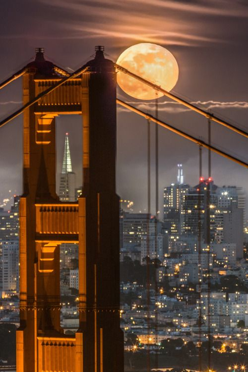 Golden Gate Moonrise by Phil McGrew - San Francisco Feelings