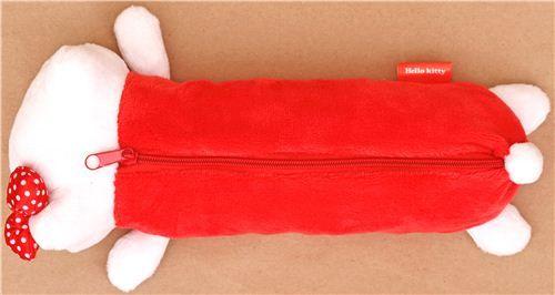 red-white fluffy Hello Kitty plush pencil case 3