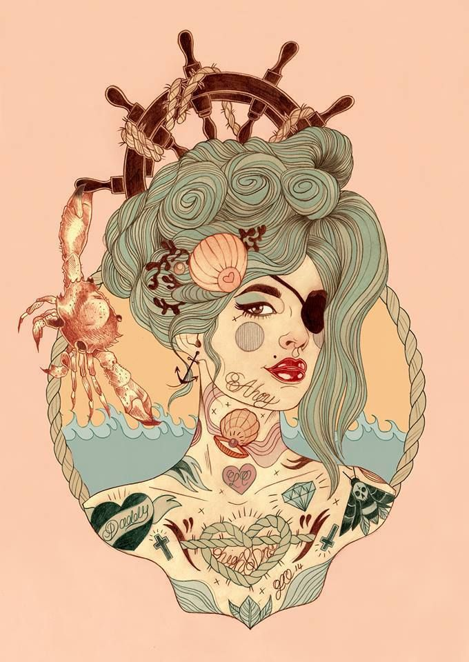 Tattoos, pirate eye patch....what's not to like? By Liz Clements illustration