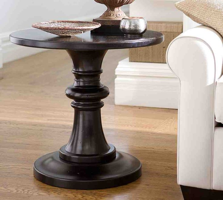 Great Black Round Pedestal End Table