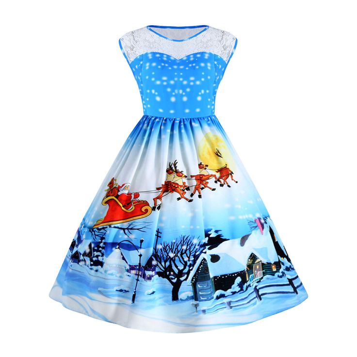 Lace Panel Sleeveless Christmas Winter Snow Vintage Ball Plus Size Dress //Price: $31.18 & FREE Shipping //     }
