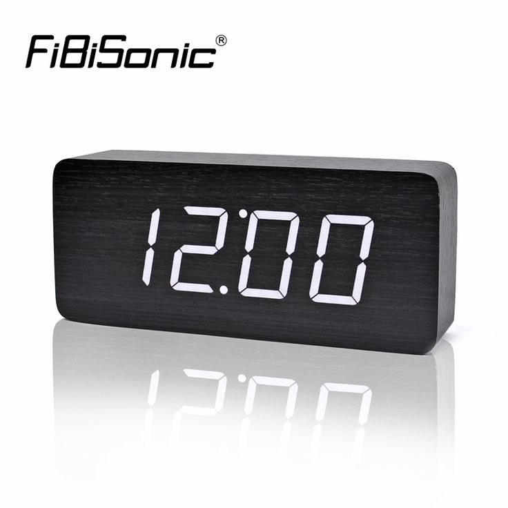 ==> [Free Shipping] Buy Best FiBiSonic Big Numbers Wood LED Digital Clocks Sound Control Wooden Alarm Clock with Temperature electronic table desktop watch Online with LOWEST Price | 32809035581