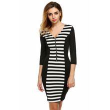 FINEJO Spring Fashion Women Casual V-Neck 3/4 Sleeve Front Zipper Striped Patchwork Slim Dress Black s-xxl(China (Mainland))