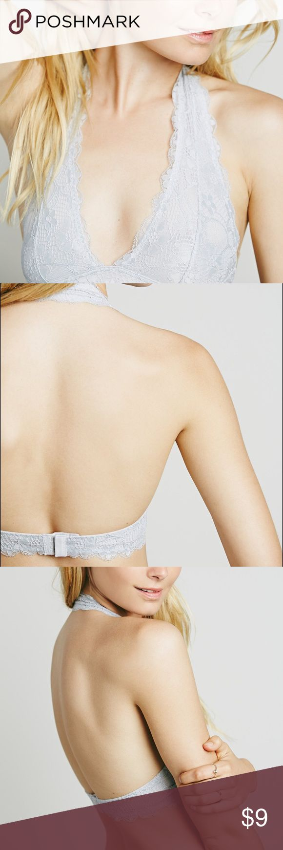 Free People Galloon Lace Halter Bra in Light Grey NWOT.  Stretchy and soft lace halter bralette with plunging neckline. Mesh lining. Gives goid support even without an underwire. Scalloped edges. The halter straps slip over the head. Double hook and eye closure on the back. Free People Intimates & Sleepwear Bras