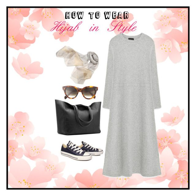 """Hijab in style - casual"" by chevy-mona-adiwar on Polyvore featuring Converse, Zara and CÉLINE"