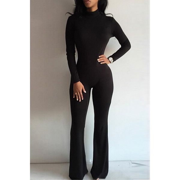 Yoins Long Sleeves Bodycon Jumpsuit with Back Zippper Design in Black (£17) ❤ liked on Polyvore featuring jumpsuits, black, long sleeve jumpsuit, jump suit, long sleeve jump suit and bodycon jumpsuit