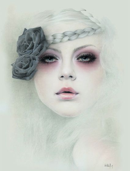 Bec Winnel is a self taught artist and illustrator with formal training in Graphic Design. Described as subdued Victorian-esque portraits, Winnels works portray a sense of sadness and mystery under beautiful faces.
