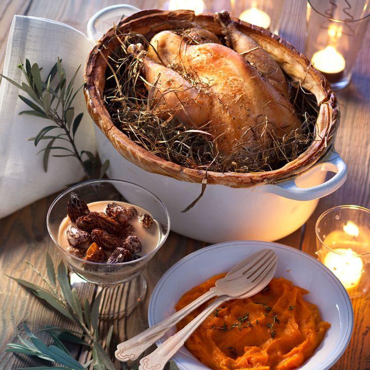 Découvrez la recette Poularde au foin sur cuisineactuelle.fr.
