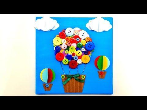 Air Balloon 3D Canvas art craft - diy handmade wall room decor gifts ideas tutorial maker life hacks