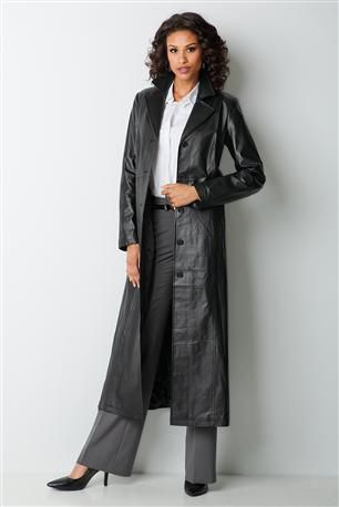 Long Leather Coat Womens Outerwear Pinterest