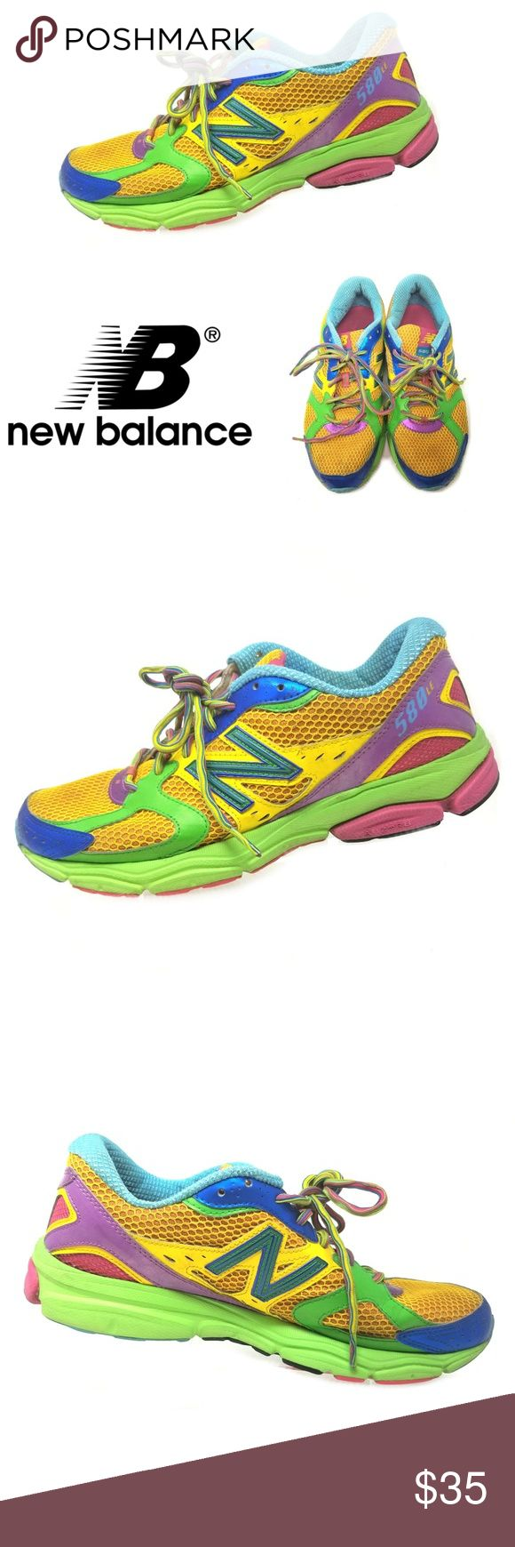 """New Balance 580 LE Women's Running Shoes Sz 10 New Balance 580 LE Women's Road Rainbow Running Shoes Sz 10 W580RR2  The New Balance 580 offers a chance to experience performance fit and superior comfort in an entry-level running shoe. ABZORB cushioning, a durable outsole and a """"fast"""" aesthetic combine to give the occasional runner a total fit.  Lightweight, mesh-based upper with synthetic reinforcement provides increased breathability and speed  Please see photos for complete condition…"""