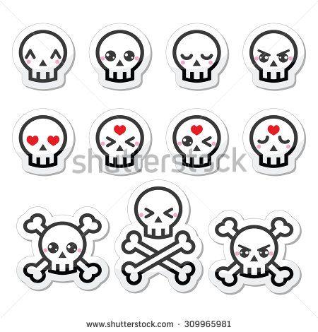Kawaii cute Halloween skull labels set by RedKoala