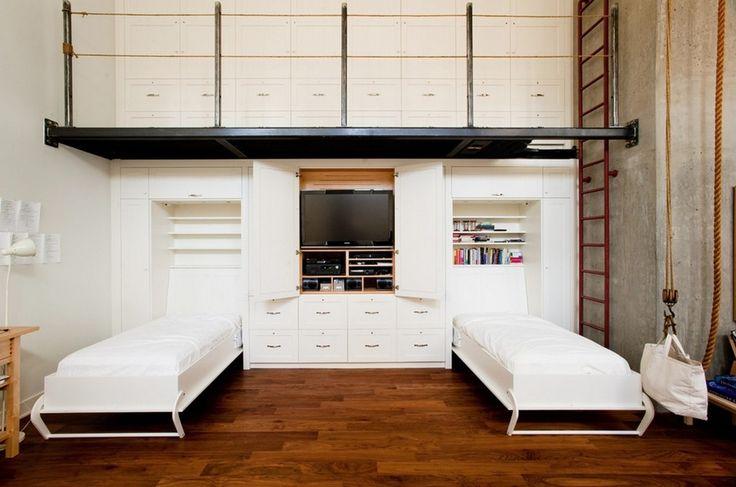 Детская мебель для двоих детей: советы по выбору и 80+ удобных и эстетичных решений для детской комнаты http://happymodern.ru/detskaya-mebel-dlya-dvoix-detej-foto/ Удобная и практичная мебель, которая прячется в шкаф