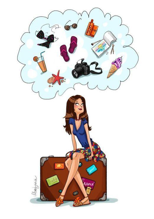 #Travel #Girls #Illustration #Seafood #Suitcase #Fashion #Summer #Holiday #Vacation