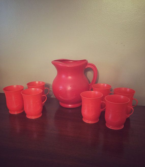Vintage 1980's Red Kool Aid Man Pitcher & by BrownandCoReclaimed