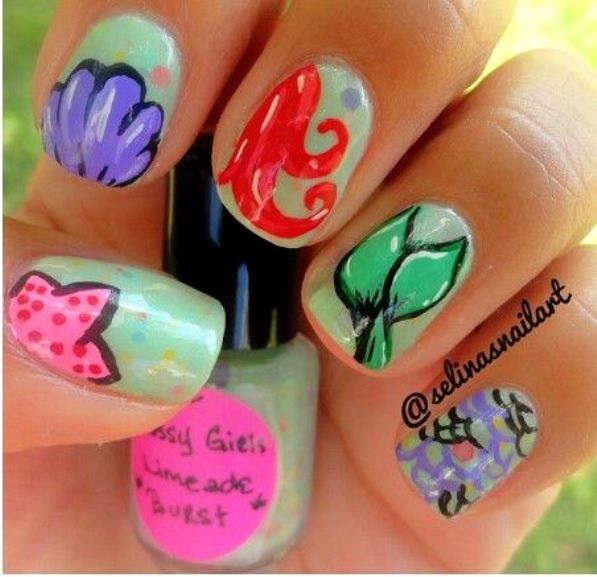 Mermaid Nail Art Adorable: Little Mermaid Nail Art Design