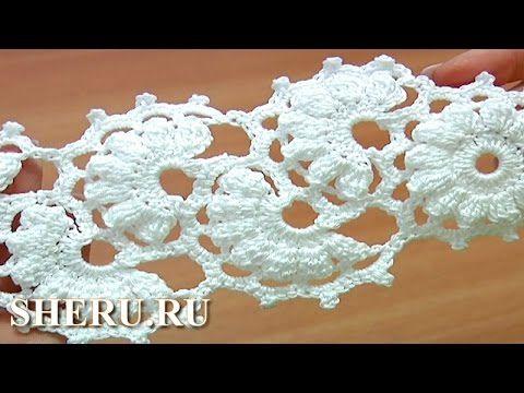 Crochet motif strip length, crochet tape. Кружево ленточное Урок 2 часть 1 из 2 Ажурная вязаная лента